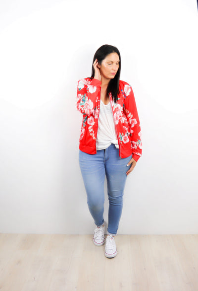 Bright Red Floral Del Zip Up
