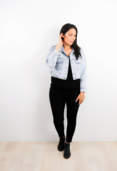 Cropped Boyfriend Denim Jacket