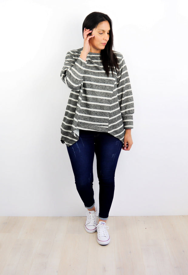 Onyx Stripe Draped Alaska Top