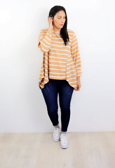 Mustard Stripe Draped Alaska Top