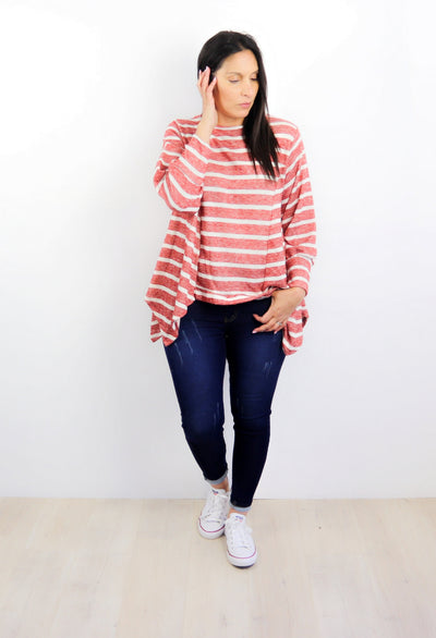 Red Stripe Draped Alaska Top