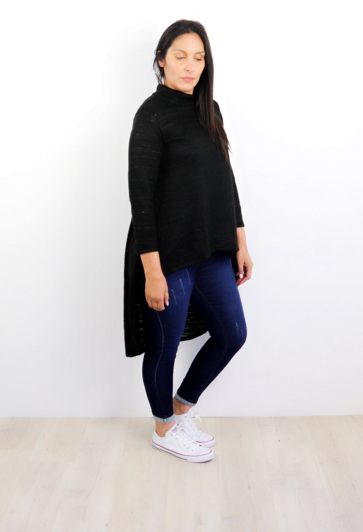 Black Lightweight Georgina Long Back Top