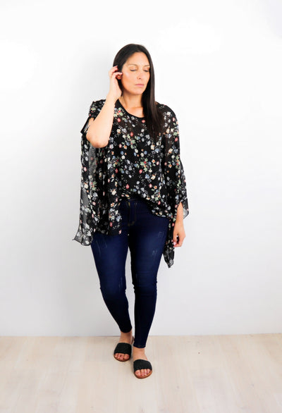 Butterfly Top - Black Posy