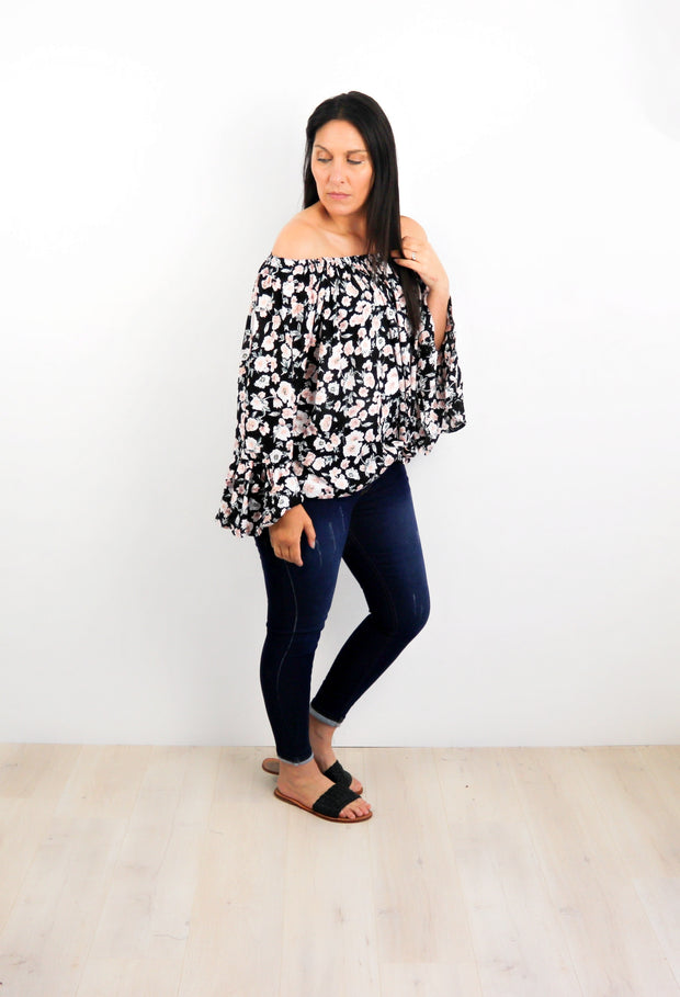 Oregon Wildflower Off-Shoulder Sabrina Top
