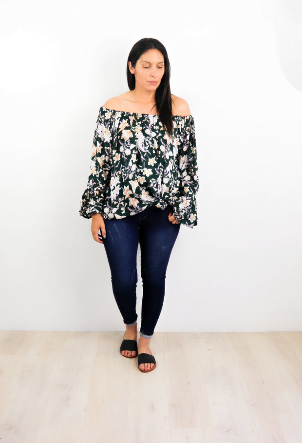 Green Oregon Wildflower Off-Shoulder Sabrina Top