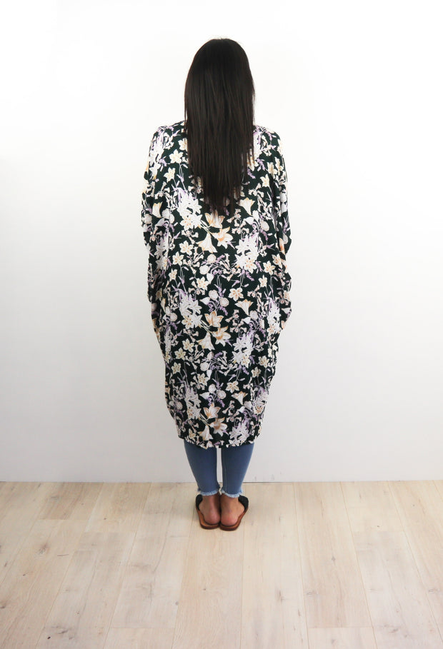 LS Long Kimono - Green Oregon Wildflower
