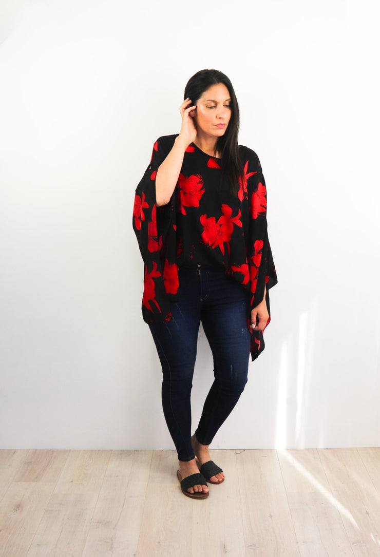 Butterfly Top - Bold Black & Red Petal