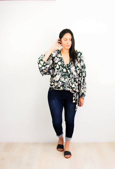 Green Oregon Wildflower - Loose Sleeve Rosalie Tie Top