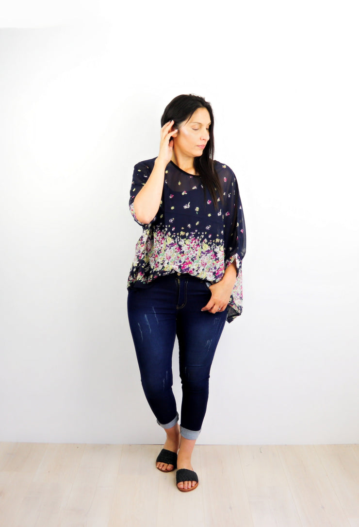 Navy Fleur Draped Top - Floral Collection