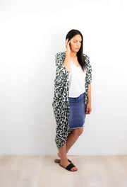 Long Green Bold Animal Print Kimono