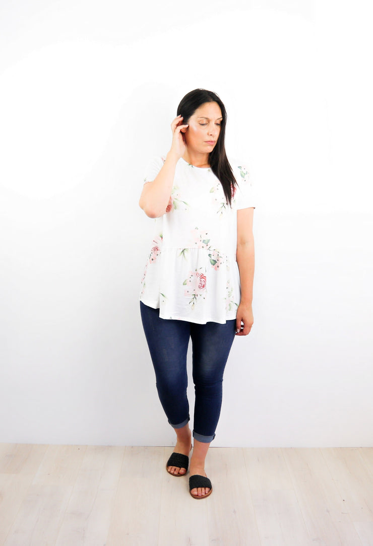 Loose Evelyn Drop Waist Top - White & Pink Floral