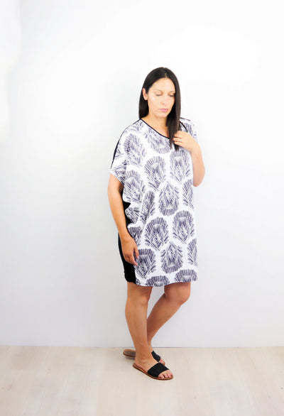 White & Navy Boho Feathered Draped Dress