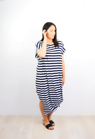 Navy & White Striped Many-Way Maxi