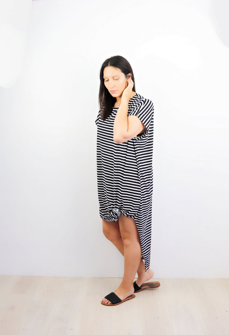 Thin Black & White Striped Many-Way Maxi