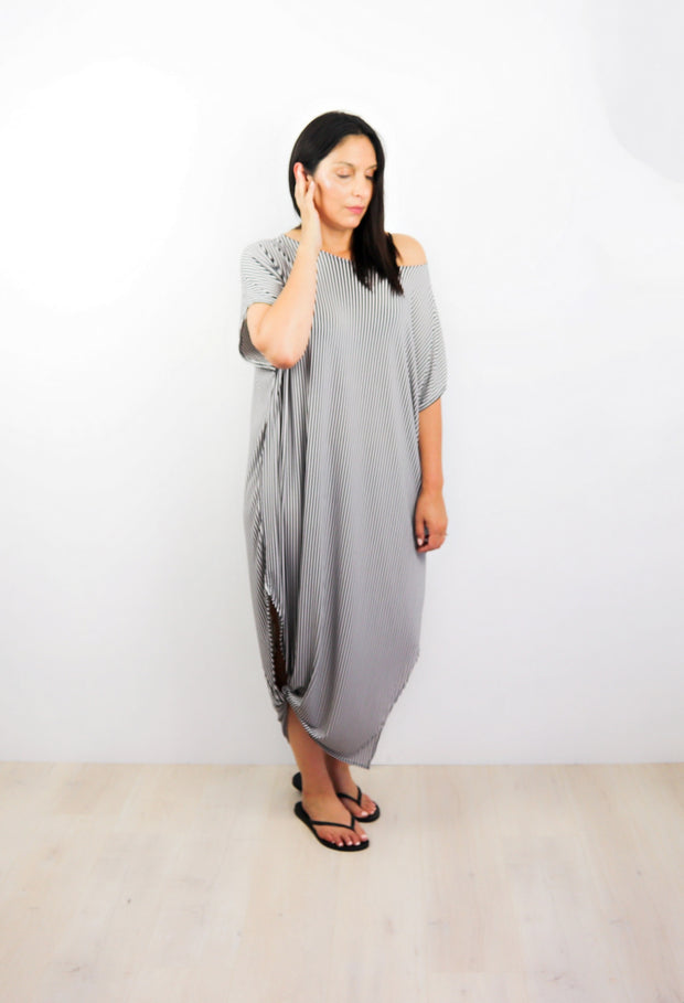 Thin Vertical Striped Many-Way Maxi