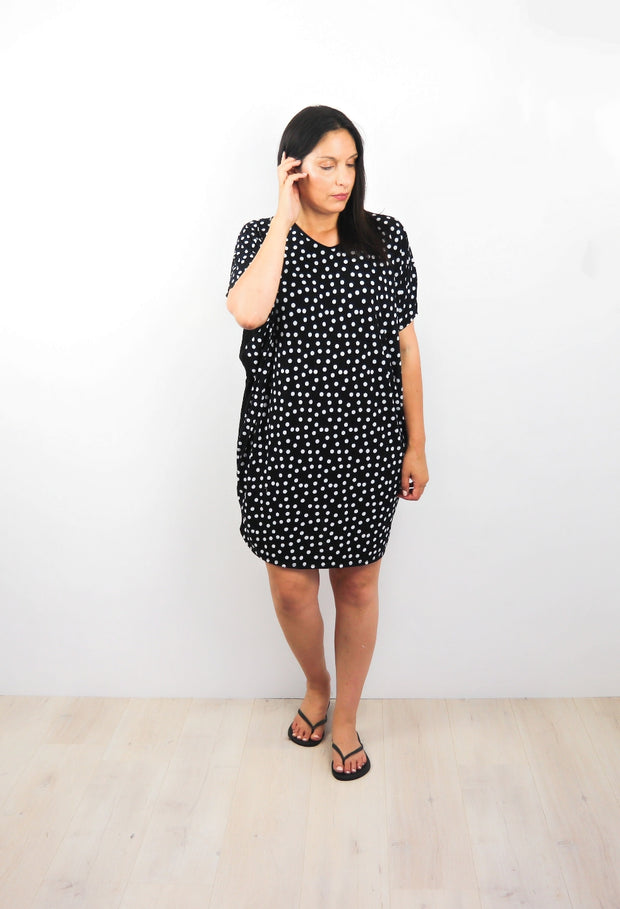 B/W Polka Dot Draped Dress