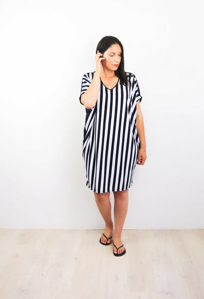 Navy Wide Striped Draped Dress