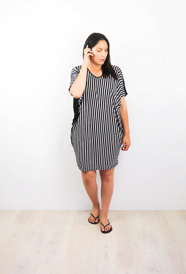 B/W Thin Striped Draped Dress