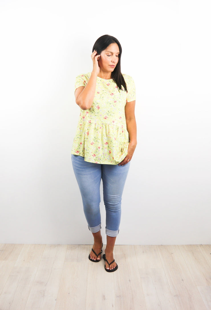 Loose Evelyn Drop Waist Top - Light Yellow Floral
