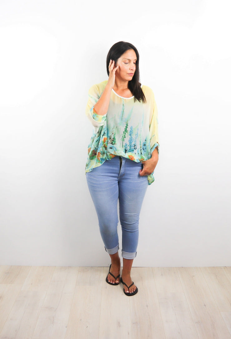 Floral Watercolour Draped Top - Floral Collection