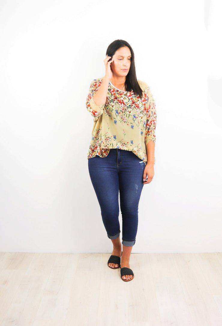 Fawny Gardenia Draped Top - Floral Collection