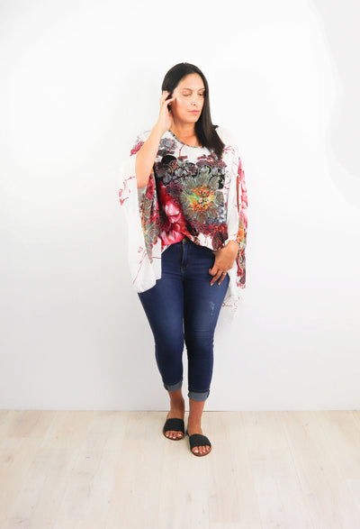 Butterfly Top - White & Red Floral