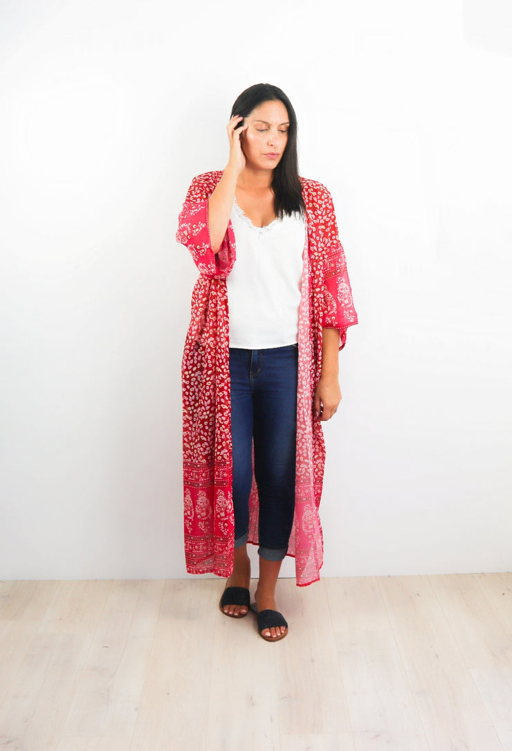 Super Long Pink & Red Patterned Kimono