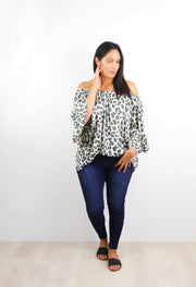 Animal Print Off-Shoulder Sabrina Top