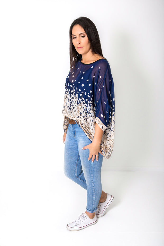 Blue Blossom Draped Top - Floral Collection