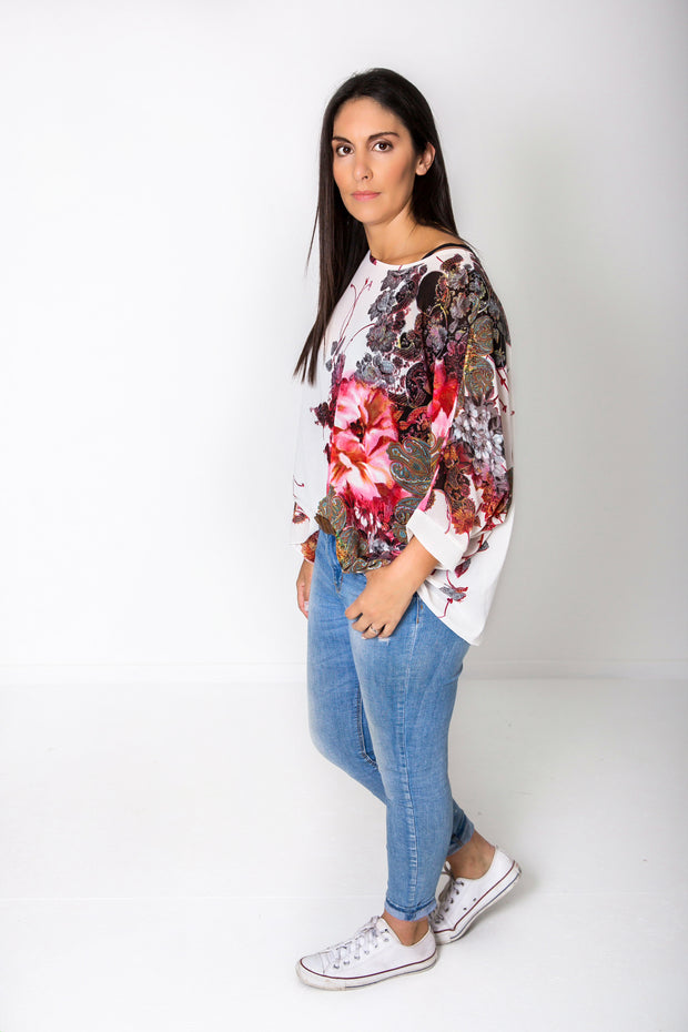 White & Red Floral Draped Top - Floral Collection