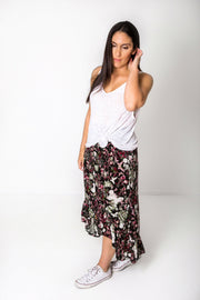 Long Black Butterfly Francesca Skirt