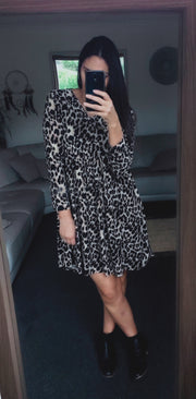 LS Animal Print  Babydoll Dress