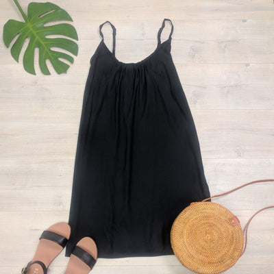 Short Shift Dress - Plain Black