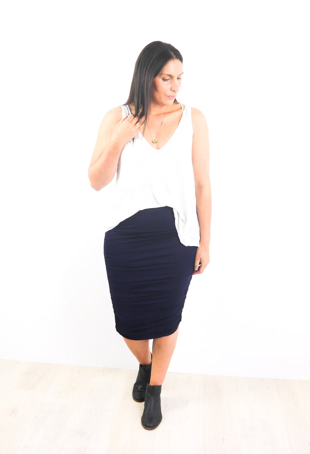 Navy Rouched Skirt
