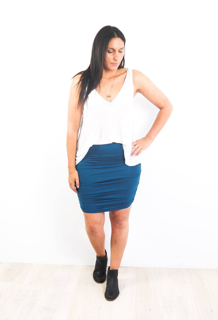 Teal Rouched Skirt