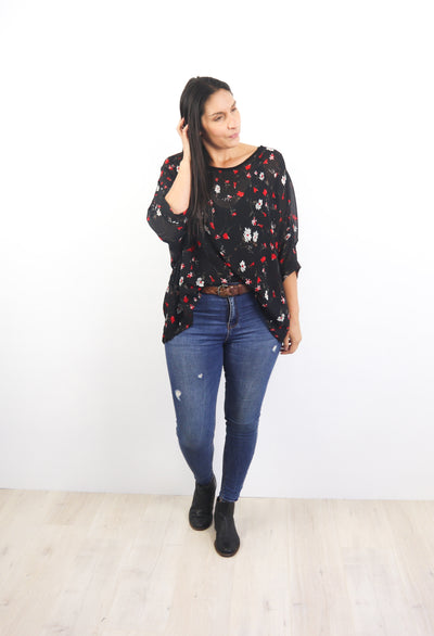 Black & Red Posy Draped Top - Floral Collection