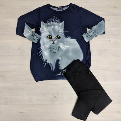 Navy Kitty Princess Print Acrylic Jersey