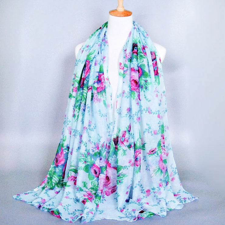 Light Mint Floral Scarf