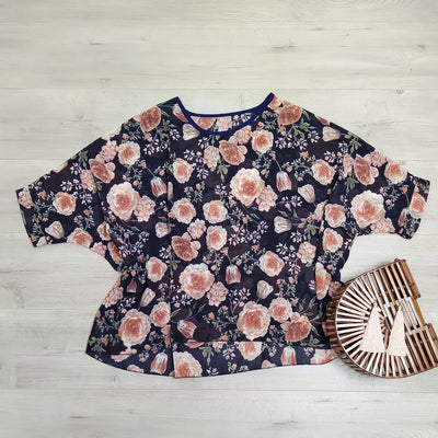 Navy Vintage Rose Draped Top - Floral Collection