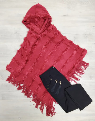 Red Faux Fur Hooded Poncho
