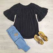 Black Off-Shoulder Sabrina Top