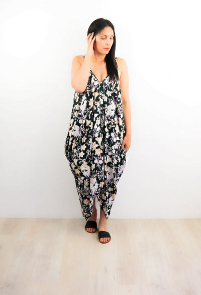 Oversized Pocket Dress - Green Oregon Wildflower