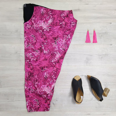 Fuchsia Geo Print Draped Dress