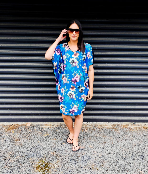 Electric Blue Floral Draped Dress