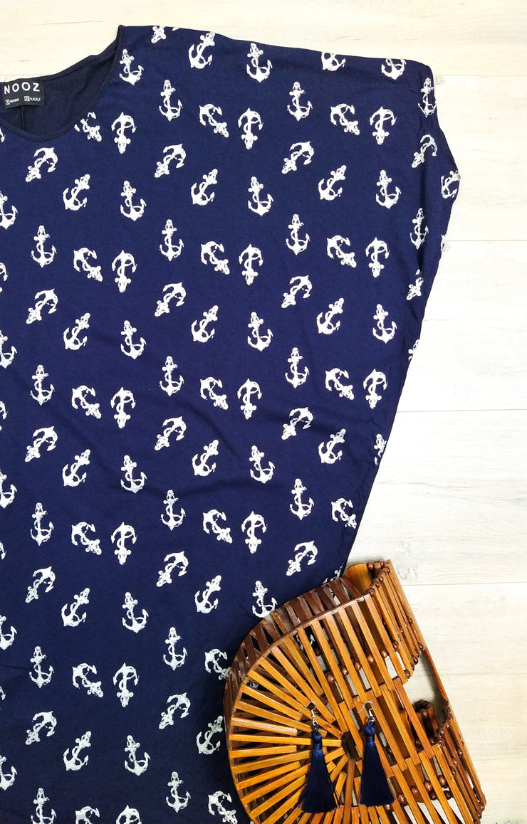Navy Nautical Print Draped Dress