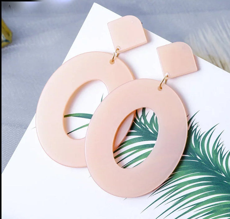 Bold Peach Geo Resin Earrings