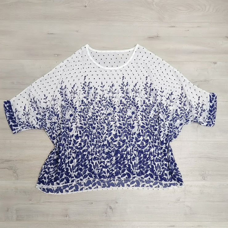 White & Blue Ivy Draped Top - Floral Collection