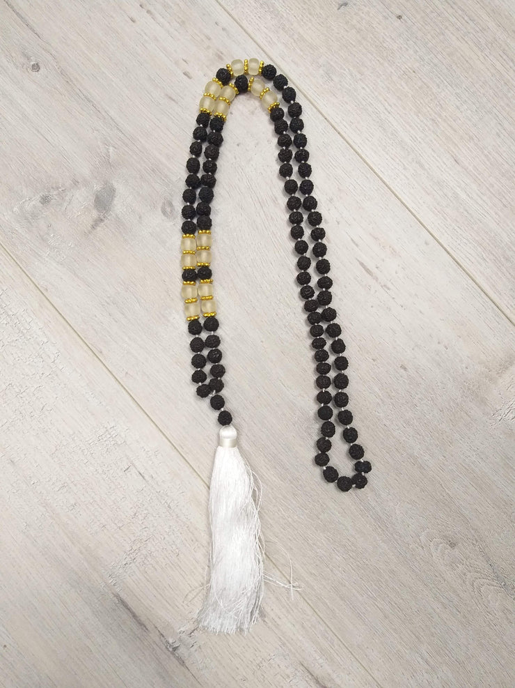 Long White Tassel & Bead Necklace