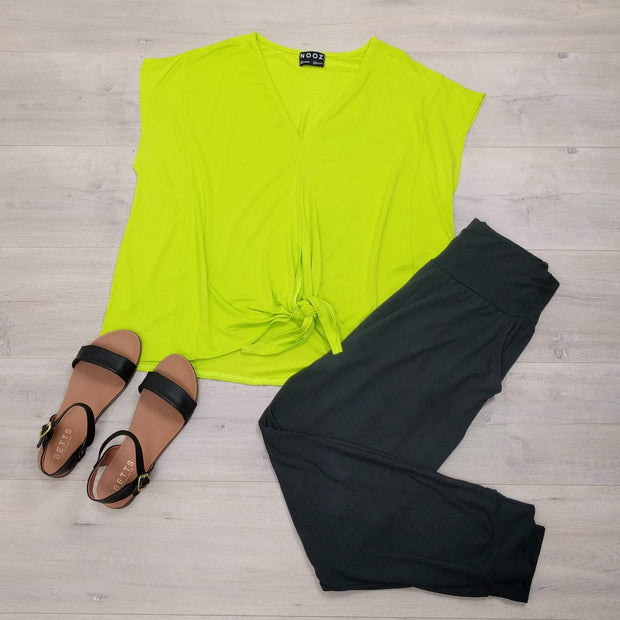 Flat lay pic of NOOZ Angel Tie Tee, in Neon, from the Sell-out Collection