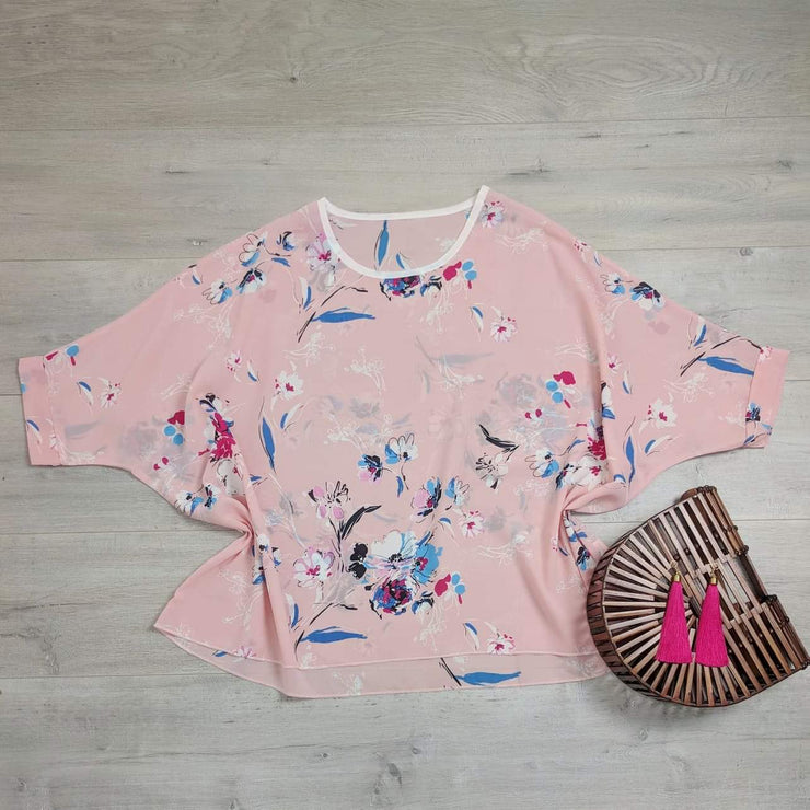 PRE-ORDER** Pink Floral Draped Top - Floral Collection